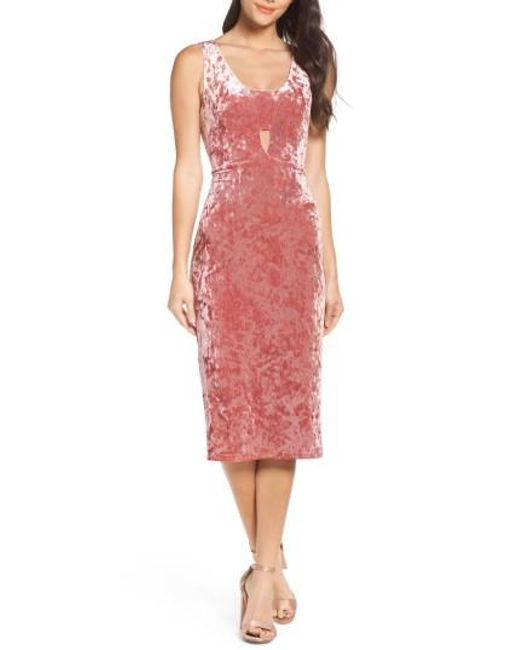 Fraiche By J | Pink Velvet Midi Dress | Lyst