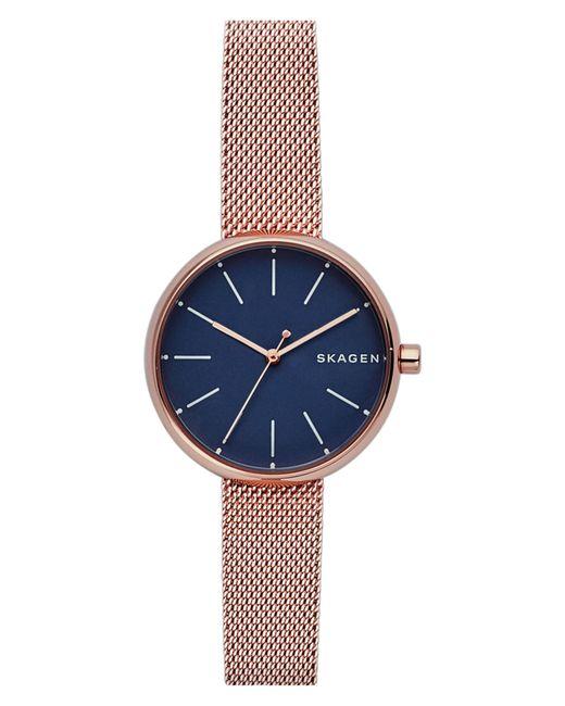 Skagen - Blue Round Mesh Strap Watch - Lyst