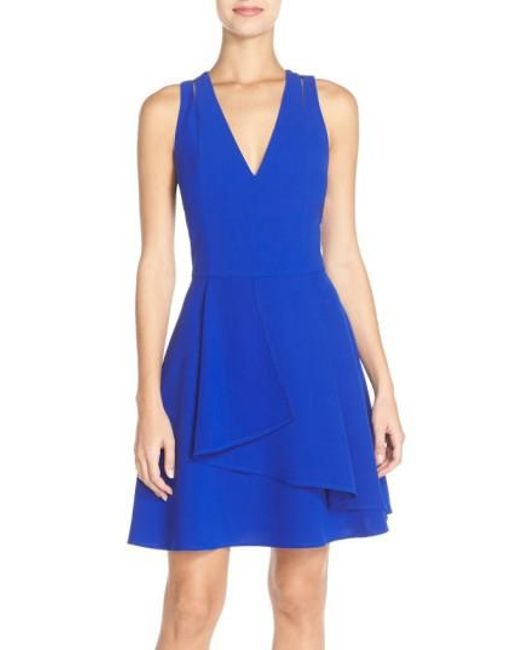 Adelyn Rae - Blue Asymmetrical Crepe Fit & Flare Dress - Lyst