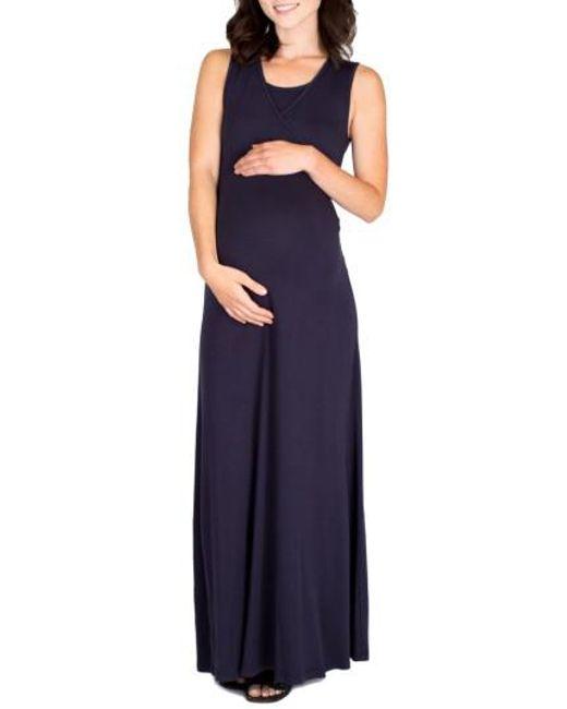 Nom Maternity - Blue Jersey Maternity Maxi Dress - Lyst