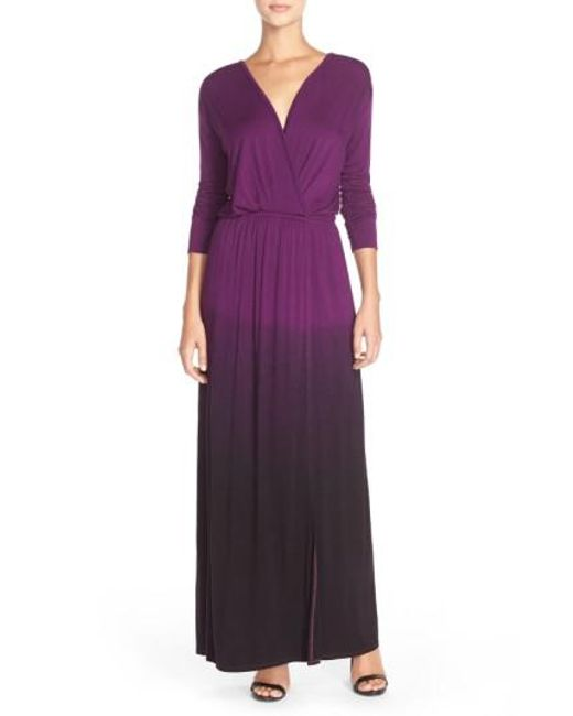 Fraiche By J | Purple Tie-Dye Faux-Wrap Maxi Dress | Lyst