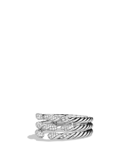 David Yurman - Metallic 'willow' Three-row Ring With Diamonds - Lyst