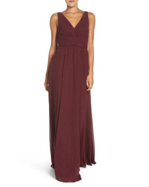 Amsale   Purple Justine Double V-neck Chiffon Gown   Lyst