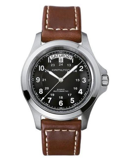 Hamilton | Metallic Khaki King Automatic Leather Strap Watch | Lyst