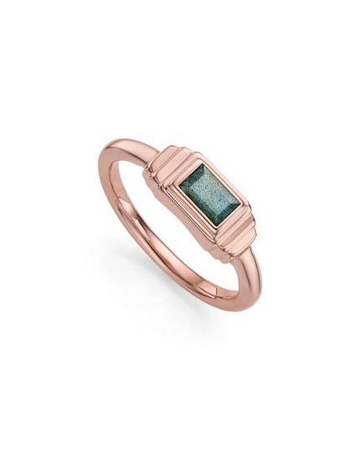 Monica Vinader | Metallic Baja Deco Semiprecious Stone Ring | Lyst