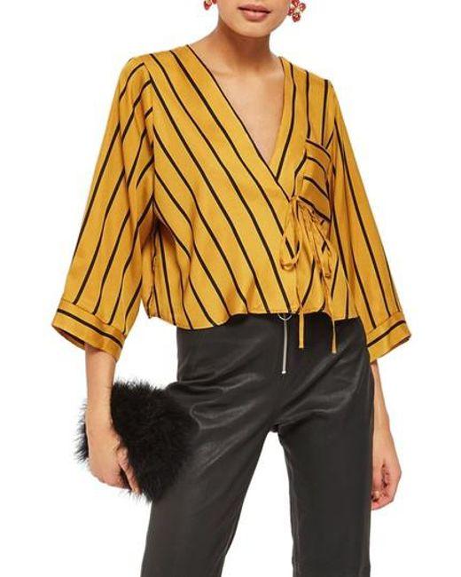 TOPSHOP | Multicolor Stripe Tie Wrap Kimono Top | Lyst