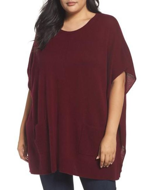Sejour | Purple Ribbed Pocket Poncho | Lyst