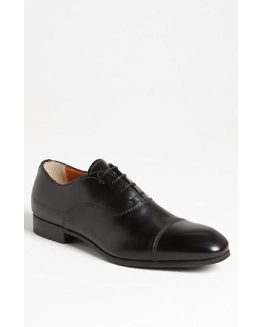 Santoni | Black 'salem' Cap Toe Oxford for Men | Lyst