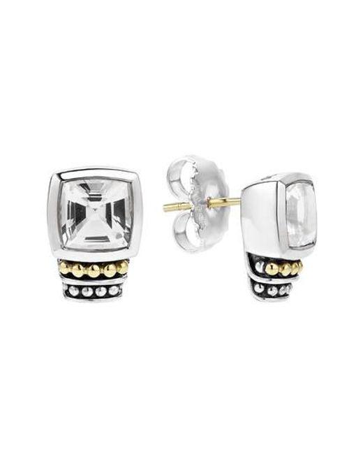 Lagos | Black 'caviar Color' Semiprecious Stone Stud Earrings | Lyst
