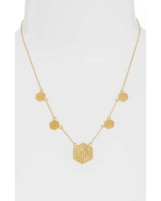 Anna Beck - Metallic Gold Plate Hexagon Station Collar Necklace - Lyst