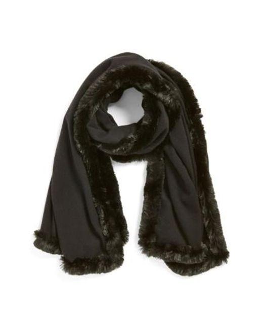 Badgley Mischka | Black Faux Fur Trim Wrap | Lyst