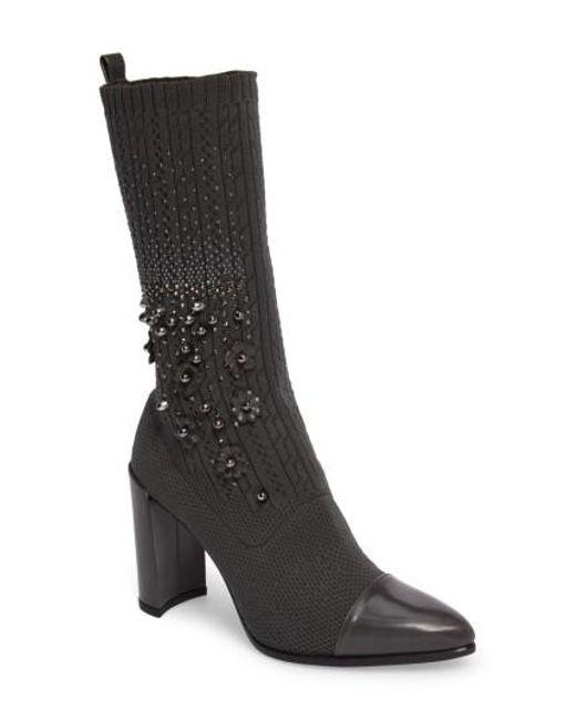 Stuart Weitzman   Black Sockhop Embellished Boot   Lyst