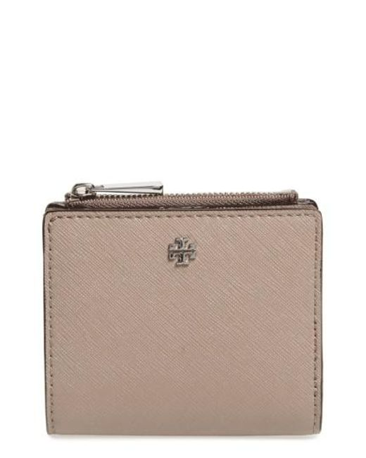 Tory Burch - Brown 'mini Robinson' Leather Wallet - Lyst