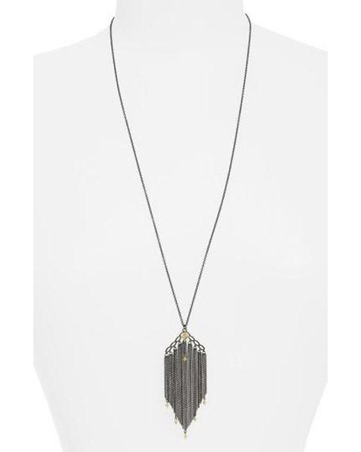 Armenta Old World Chain Tassel Necklace with Champagne Diamonds EFU71SeGi5
