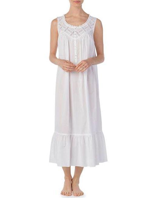 629326c912 Lyst - Eileen West Cotton Lawn Nightgown in White