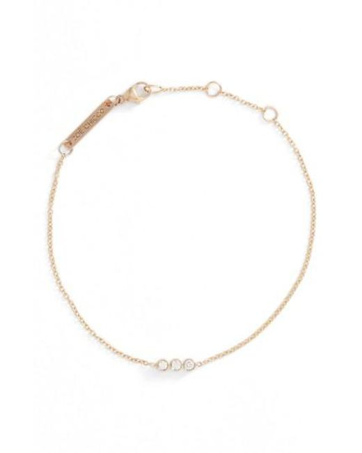 Zoe Chicco | Metallic Diamond Bezel Bar Line Bracelet | Lyst