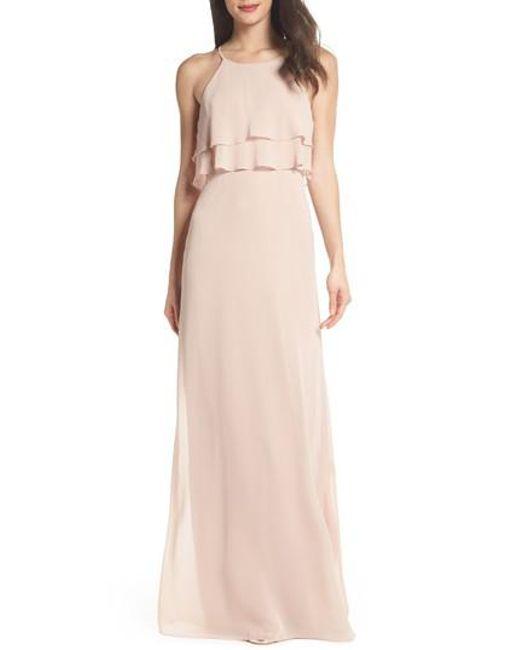 Jenny Yoo - Pink Charlie Ruffle Chiffon Gown - Lyst