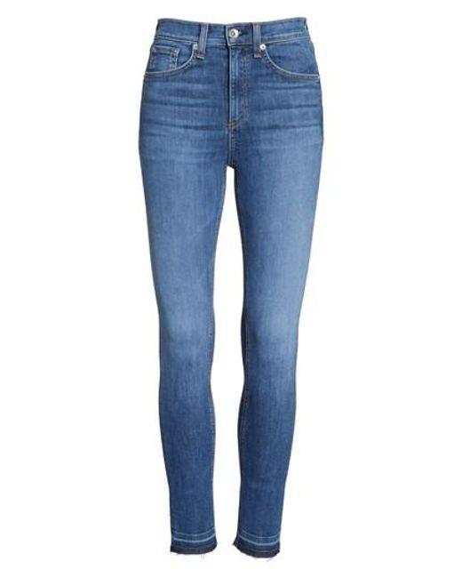 Rag & Bone - Blue High Waist Ankle Skinny Jeans - Lyst