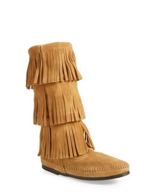 Minnetonka - Brown Layered Fringed Suede Boots - Lyst