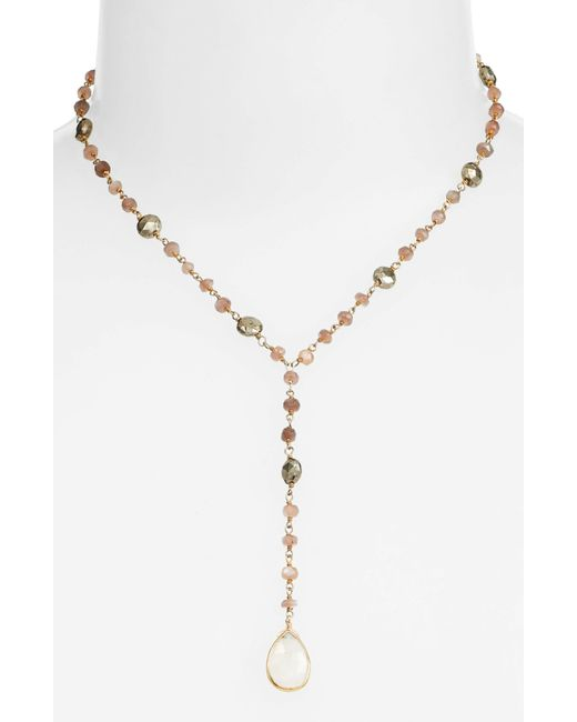 Ela Rae - Metallic Yaeli Midi Satellite Semiprecious Stone Y-necklace - Lyst