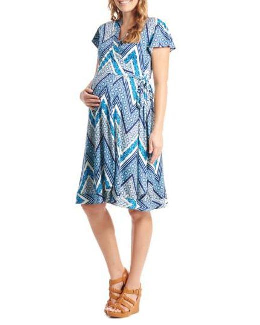 Everly Grey | Blue 'kathy' Maternity/nursing Wrap Dress | Lyst