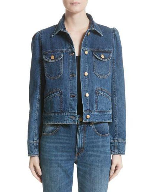 Co. - Blue Puff Shoulder Denim Jacket - Lyst