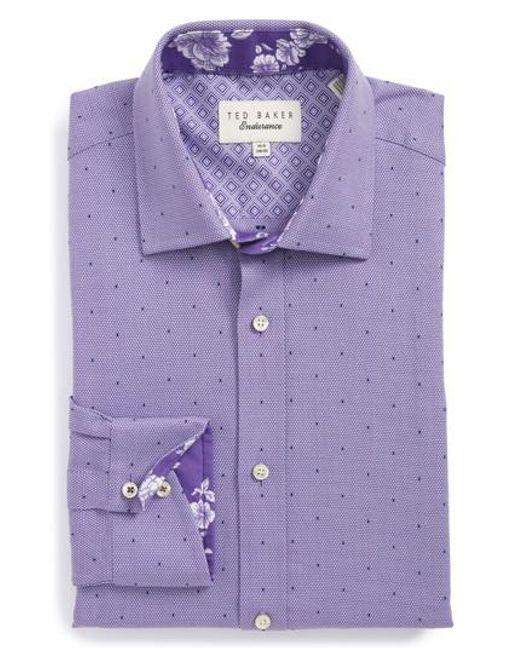 Ted Baker | Purple Trim Fit Dot Dress Shirt for Men | Lyst