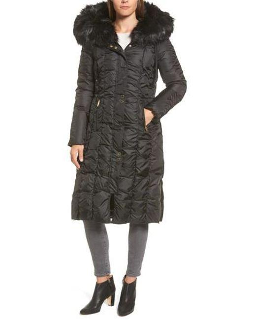 Via Spiga | Black Long Faux Fur Trim Coat | Lyst