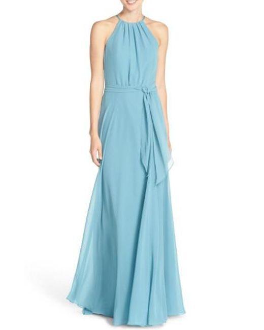 Amsale | Blue 'delaney' Belted A-line Chiffon Halter Dress | Lyst