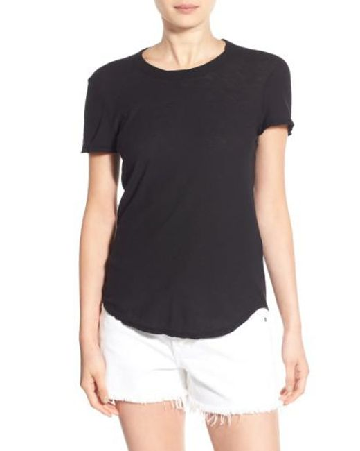 James Perse | Black Sheer Slub Crewneck Tee | Lyst