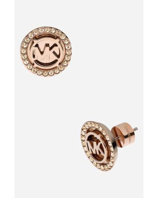 MICHAEL Michael Kors - Pink Michael Kors Monogram Stud Earrings - Lyst