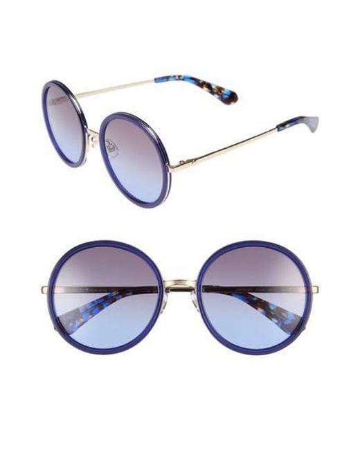 Kate Spade - Blue Lamonica 54mm Gradient Lens Round Sunglasses - Lyst