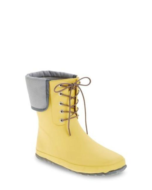 Dav - Yellow Lace-up Mid Weatherproof Boot - Lyst