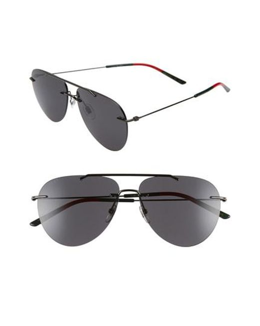 66af3ffb4e Gucci - Multicolor 60mm Rimless Aviator Sunglasses - Ruthenium for Men -  Lyst