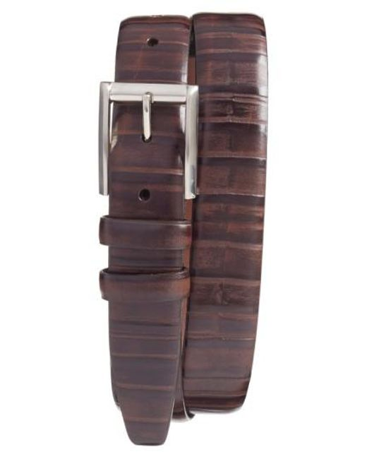 Torino Leather Company - Brown Ribbed Kipskin Leather Belt for Men - Lyst