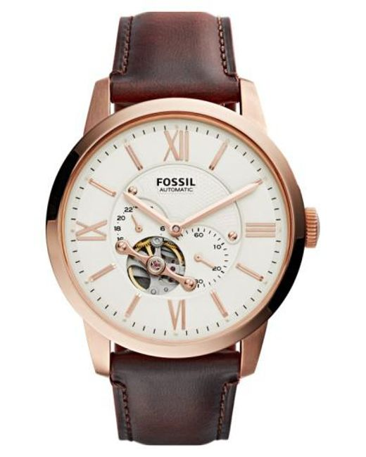 Fossil | Metallic 'townsman' Automatic Leather Strap Watch for Men | Lyst