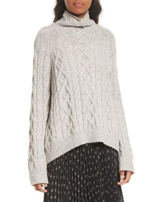Vince Cable Knit Turtleneck Sweater in Gray | Lyst