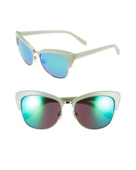 Kate Spade - Green 'genette' 56mm Cat Eye Sunglasses - Mint - Lyst