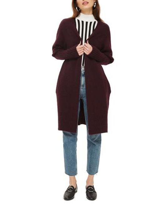 Topshop Puff Sleeve Longline Cardigan in Purple | Lyst