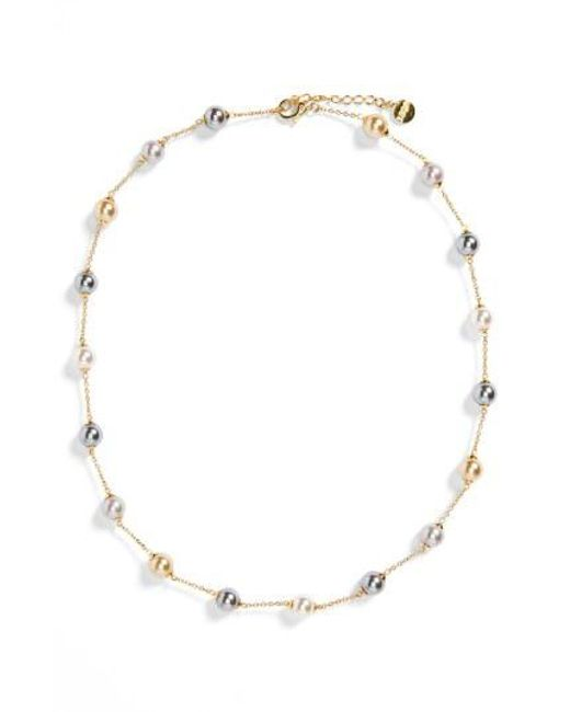 Majorica - Metallic 8mm Pearl Station Necklace - Lyst