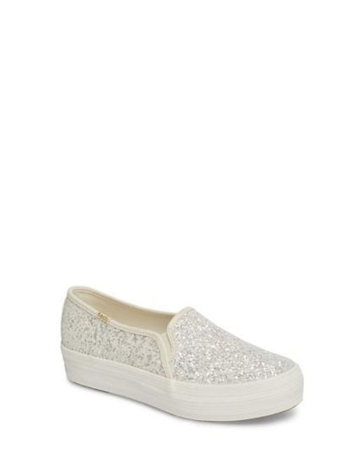 Kate Spade - Natural Keds For Kate Spade New York Triple Decker Glitter Slip-on Sneaker - Lyst