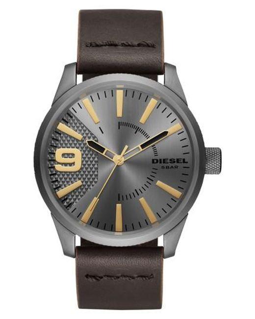 DIESEL | Metallic Diesel Rasp Leather Strap Watch for Men | Lyst