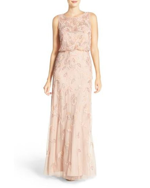 Adrianna Papell | Pink Embellished Mesh Blouson Gown | Lyst