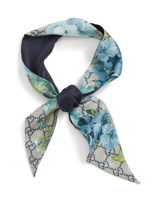 Gucci | Blue Gg Blooms Silk Neck Bow | Lyst