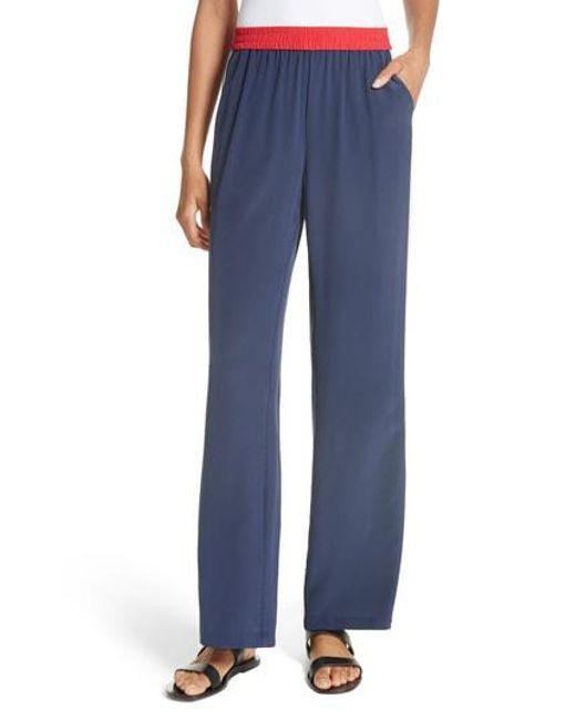 Joie - Blue Perlyn Silk Track Pants - Lyst