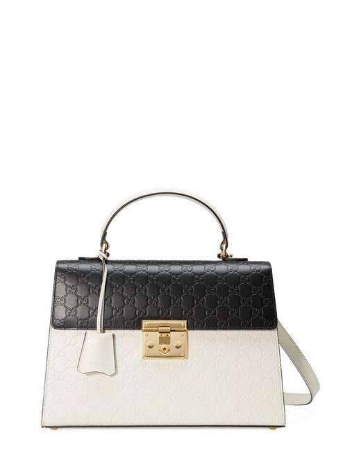 Gucci - Black Medium Padlock Top Handles Signature Leather Satchel - - Lyst