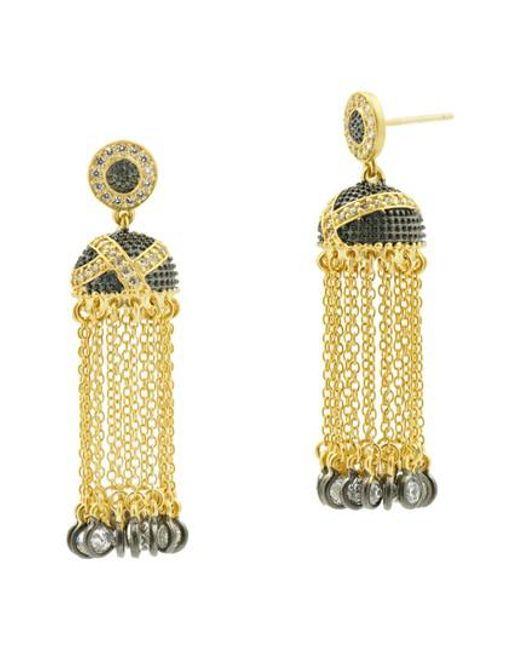 Freida Rothman | Metallic Textured Ornaments Tassel Drop Earrings | Lyst