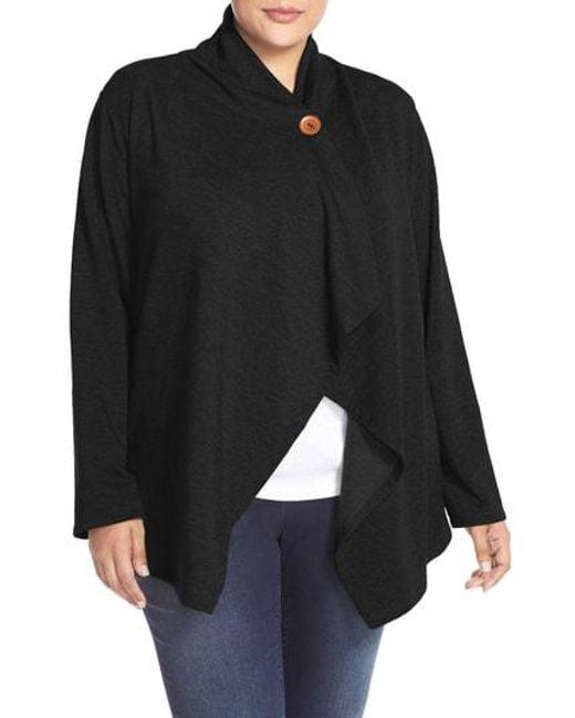 Bobeau - Black One-button Fleece Cardigan - Lyst