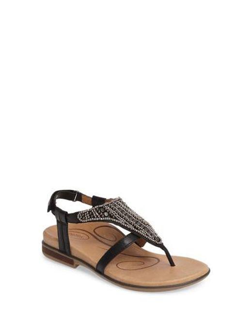 Aetrex - Black Sheila Embellished Sandal - Lyst