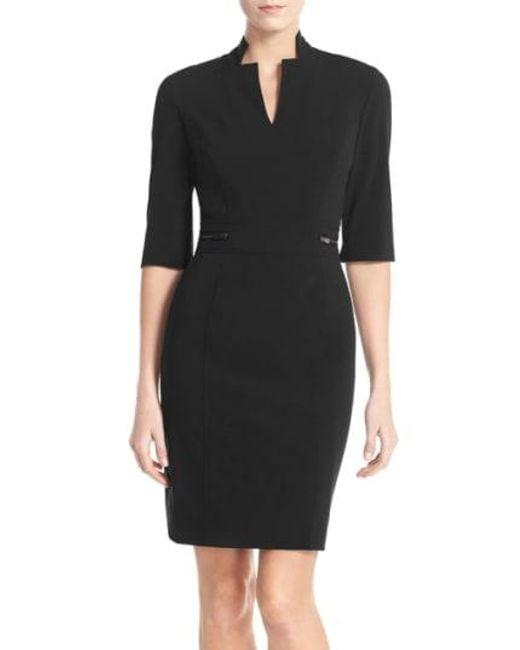 Tahari - Black Sheath Dress - Lyst